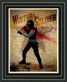 Winter Soldier, Avengers art, Vintage Silhouette print, Retro Super Hero Art, Dictionary print art
