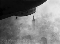 A German-made Zeppelin skims the tops of skyscrapers on October 19, 1924.  Photo from the New York Times Photo Archives.