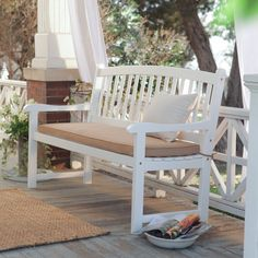 Have to have it. Pleasant Bay White 5 ft. Slat Back Bench with Optional Cushion $189.98