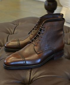 $575  Carmina Shoemaker Captoe Boots in Brown Scotchgrain Calf  Punched Captoe Boots in antique hand finished brown scotchgrain (Model 973)  Rain Last - Double Dainite Sole  Goodyear welted, Handmade in Spain