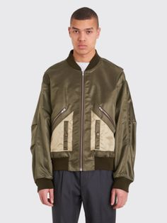 Maison Margiela Classic Nylon Bomber Jacket Military Green