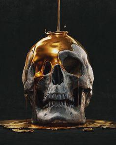 Yur weight in gold! Dark Fantasy, Fantasy Art, Arte Black, Skull Reference, Totenkopf Tattoos, Creation Art, Or Noir, Skull Artwork, Skull Wallpaper