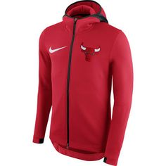 72016e7847ec Men s Chicago Bulls Nike Red Therma Flex Showtime Full-Zip Hoodie