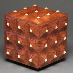 Decorative Wooden Box, Secret Compartment, Bubinga and Maple
