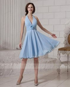 Simple A-line Halter Knee-length Blue Cocktail Dresses