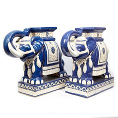 Pair Of Mid-Century Ceramic Elephant Side tables
