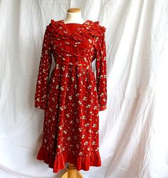 Vintage Prairie Dress  Floral Corduroy  by HappyFortuneVintage, $58.00