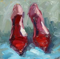 paintings of red shoes - Google Search