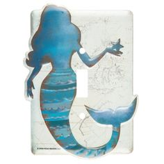 Add a fun accent piece with adorable switch plates! Mermaid Single Switch Plate features lovely colors of blue with an adorable mermaid in front of a cream map. Bathroom Shelf Decor, Beach Theme Bathroom, Mermaid Bedroom, Mermaid Kisses, Wall Decor Online, Nautical Home, Wood Wall Decor, Switch Plates, Light Switch Covers