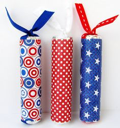 """What a cute idea! The directions say: """"These are firecrackers made from Life Savers candy. I just removed the existing cover and re-wrapped them with digital papers that I printed."""""""