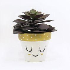 Succulent Pot, Succulent Planter, Cute Face Planter, Air Plant Holder, Plant Pot, Flower Pot, Indoor Planter, Small from TimberlineStudio on Etsy. #succulents #homedecor #decor #cute #gold.