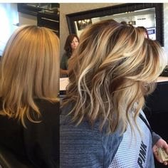 Blonde Balayage highlights, darkened roots with painted on highlights and lowlights before-after color makeover by suzette