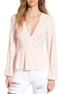 Free shipping and returns on Leith Peplum Surplice Top at Nordstrom.com. Romantic blouson sleeves and a waist-highlighting peplum balance the figure-hugging surplice bodice of a stretch-crepe top perfect for dressing up your favorite denim.