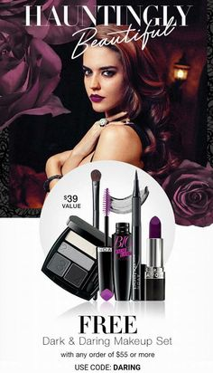 Hauntingly Beautiful!!   Get this Dark & Daring makeup set FREE, plus FREE SHIPPING when you spend $55!!    SHOP @ kwissner.avonrepresentative.com Use Code:  DARING  EXPIRES MIDNIGHT ET, 10/13/16.  WHILE SUPPLIES LAST.  MAIL DELIVERY ONLY.  #avon #makeup #beauty #dark #daring #eyeshadow #lipstick #fall #halloween #coupon #estore