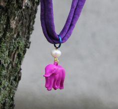 Boho elephant pearl necklace purple by NataliesWunderland on Etsy, $20.00