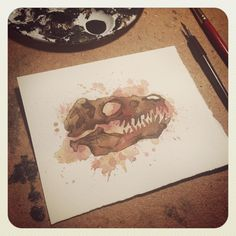 Warmed up with a quick #tyrannosaurusrex #painting #watercolor #grisgrimly #grisgrimlyart #trex #dinosaur