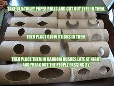Take old toilet paper rolls and cut out eyes in them. Then place glow sticks in them. Then place them in random bushes late at night and freak out the people passing by.