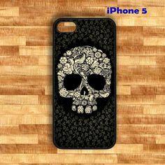 Floral skull, sugar skull with floral backround  Iphone 5 case(Black Case) - Optional : White Side. $16.00, via Etsy.