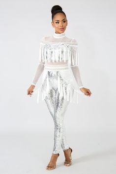 c8365810c28b White   Silver Sequin Fringe Net Jumpsuit
