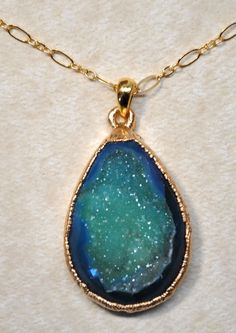 Teal Blue Green Long Gold Druzy Necklace - Druzy Jewelry - Drusy Jewelry. $69.00, via Etsy.