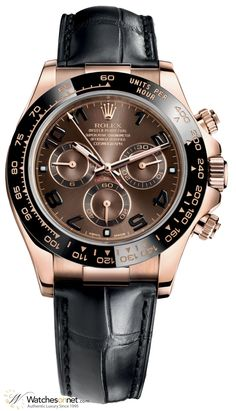 New 100% Authentic Rolex Cosmograph Daytona Men's Watch, Model Number 116515LN-CHOC features Chronograph Automatic Movement. Made from 18K Rose Gold, This Watch has a Brown dial and fitted with a Alligator bracelet.