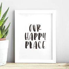 Our Happy Place black and white watercolor Typography Poster Wall Decor Motivational Print Inspirational Poster Home Decor Watercolor Typography, Typography Prints, Typography Poster, Quote Prints, Watercolor Print, Wall Art Prints, Framed Prints, Typography Quotes, Frame Wall Decor