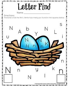 Adorable Letter Find Worksheets for Preschool and Kindergarten classrooms, homeschools, and kids who enjoy cute educational fun. Letter N Crafts, Letter N Activities, Preschool Letters, Preschool Circus, Alphabet Crafts, Alphabet Letters, Letter N Worksheet, Alphabet Worksheets, Kindergarten Worksheets