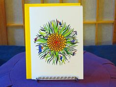 """Blank Card - """"Connected to Center"""" - Mandala Art - All Occasion - Blank Note - Tropical Birds - Whimsical Birds - Cheerful Colors - Playful by CreateThriveGrow on Etsy"""