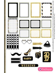 New Year 2017 Printable Stickers for Happy Planner and ECLP in Grey Color page 2