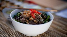 Wok-tossed lemongrass beef with vermicelli noodle salad recipe