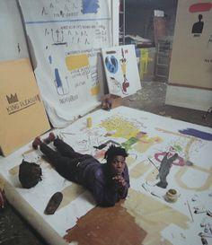 Basquiat in his Great Jones St. studio 1987. Photo Tseng Kwong Chi.