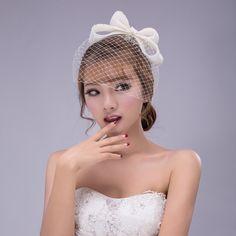 Grátis frete véu de noiva casamento com cor bege malha de poliéster e Bow decoração moda estilo romântico véu de noiva em Véus de Noiva de Casamentos e Eventos no AliExpress.com | Alibaba Group