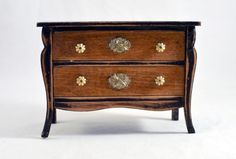 ARTISAN  HANDCRAFTED 2 DRAWER CHEST WITH BLK ANTIQUED TRIM