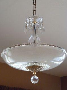Vintage 1930s art deco pink square glass ceiling light fixture antique vintage art deco chandelier ceiling light fixture mozeypictures Gallery