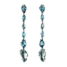 Midnight Marquis Long Post Drop Earrings | Alexis Bittar - A seductive ombré of custom cut London Blue Topaz and Ocean Blue Quartz form graceful drops. Marquis prongs with pavé Diamond creep over the stones adding edge and sparkle to these attractively modern earrings.