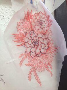 Botanical tattoo stencil