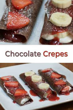 If you like chocolate and you like crepes then you will love these homemade chocolate crepes. They are incredibly easy to make and oh so yummy. Crepe Recipes, Brunch Recipes, Breakfast Recipes, Dessert Recipes, Breakfast Ideas, Chocolate Crepes, Homemade Chocolate, Easy Desserts, Delicious Desserts