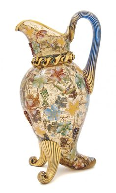 A Moser Enameled and Gilt Decorated Glass Ewer, He
