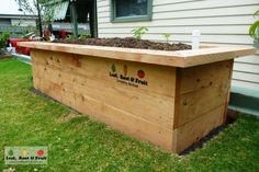 A cypress sleeper wicking bed with a seat - Leaf, Root & Fruit Gardening Services Wicking Garden Bed, Wicking Beds, Plants For Raised Beds, Raised Garden Beds, Fruit Garden, Edible Garden, Raised Vegetable Gardens, Veggie Gardens, Growing Sweet Potatoes