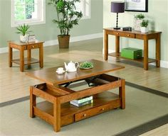 Traditional Oak Coffee Table Set