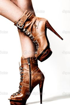 I need these! Leather Boot Stilettos.