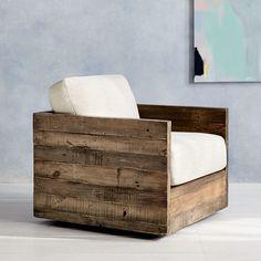 Reclaimed Wood Swivel Chair