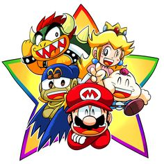 Super Mario RPG: Legend of the Seven Stars Fan Artwork Super Mario Bros, Super Mario Kunst, Super Mario All Stars, Super Mario Brothers, Super Smash Bros, The Legend Of Zelda, Mario Star, Mundo Dos Games, Star Illustration