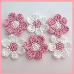 6 medium pink and white crochet flowers, appliques and embellishments £3.00