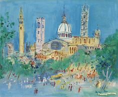 Sienne Artwork by Jean Dufy Hand-painted and Art Prints on canvas for sale,you can custom the size and frame
