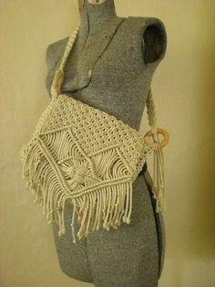 Gorgeous 70's Beaded Macrame Purse by BambieJonesVintage on Etsy. $35.00, via Etsy.