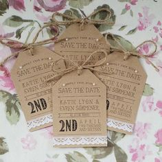 Rustic Kraft and Lace Save the Date Card by LittleIndieStudio