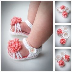 Crochet Baby Girl Sandals Summer Baby Flower by BabesCrochets ♥♥