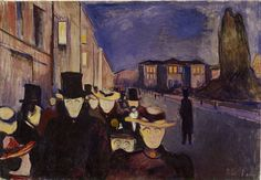 Evening On Karl Johan Street by Edvard Munch Handmade oil painting reproduction on canvas for sale,We can offer Framed art,Wall Art,Gallery Wrap and Stretched Canvas,Choose from multiple sizes and frames at discount price. Post Impressionism, Impressionist, Oslo, Edward Munch, Oil On Canvas, Canvas Art, Most Popular Artists, Famous Artists, Pierre Auguste Renoir