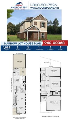 If you're building on a narrow lot, this house plan is for you! Plan 940-00368 delivers 1,888 sq. ft., 3 bedrooms, 2.5 bathrooms, a loft area, an open floor plan, and a 2 car garage. See more information on our website. #houseplans Narrow Lot House Plans, Best House Plans, Floor Plan Drawing, Stair Detail, Cost To Build, Construction Cost, Thing 1, House Stairs, Build Your Dream Home